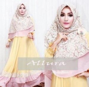 Gamis Pesta Aalura Syar'i Warna Soft Yellow Bahan Velvet