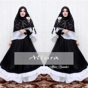 Gamis Pesta Aalura Syar'i warna Black Bahan Velvet