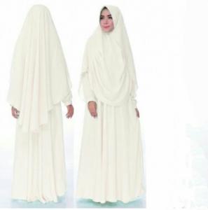 Gamis Syar'i Terbafru Humaira warna White Bahan Wollycrepe