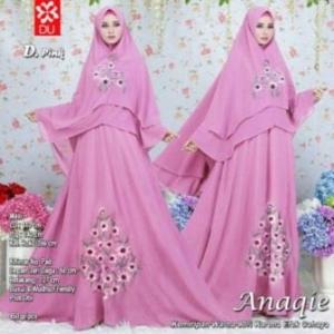 Gamis Terbaru Anaqie Syar'i Warna Pink Dengan Bahan Woolpeach