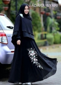 Gamis Untuk Lebaran Adara Syar'i Warna Black Bahan Cerutty
