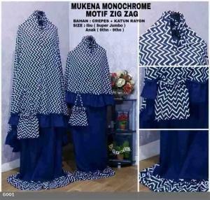Mukena Terbaru Desain Couple Monochrome motif Zigzag