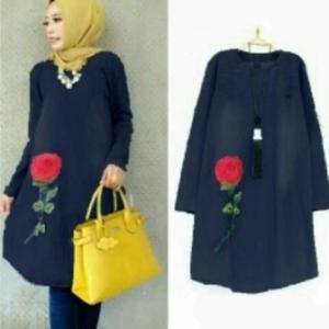 Baju Atasan Wanita Muslim Online Mauren Tunik Warna Navy Bahan Semi Jeans