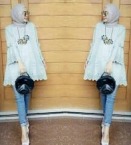 Baju Atasan Wanita Muslim Vella Tunik warna Abu Bahan Wollycrepe