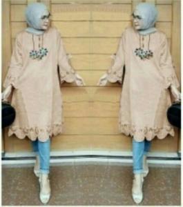 Baju Atasan Wanita Muslim Vella Tunik warna Mocca Bahan Wollycrepe
