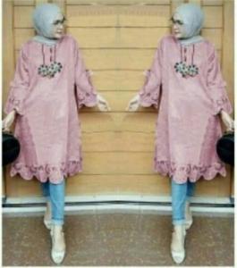 Baju Atasan Wanita Muslim Vella Tunik warna Pink Bahan Wollycrepe.