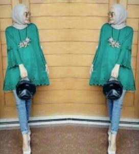Baju Atasan Wanita Muslim Vella Tunik warna Tosca Bahan Wollycrepe
