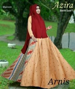 Baju Gamis Azira Maroon Bahan katun Terbaru Mewah