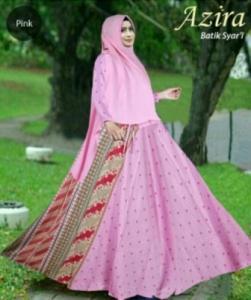 Baju Gamis Azira pink Bahan Katun Terbaru Mewah