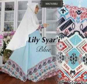 Baju Gamis Cantik Dan Anggun Lily syar'i Biru Bahan Bubblepop