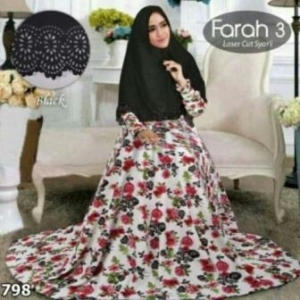 Baju Gamis Cantik Dan Murah Farah 3 Syar'i Hitam Bahan Bubble Pop