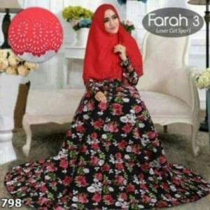 Baju Gamis Cantik Murah Farah 3 Syar'i Merah Bahan Bubble Pop