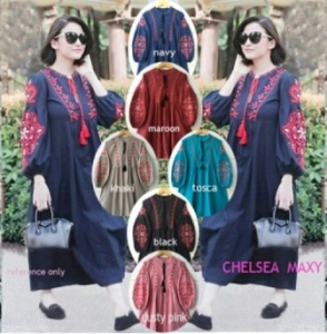 Baju Gamis Katun Muslimah Terbaru Chelsea bahan katun