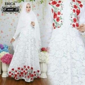 Baju Gamis Pesta Cantik Dan Anggun Erica Syar'i Brukat Putih