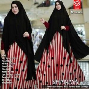 Baju Gamis Terbaru Anggun Shanaya Syar'i Warna Merah Bahan Spandex