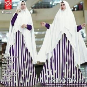 Baju Gamis Terbaru Anggun Shanaya Syar'i Warna Ungu Bahan Spandex