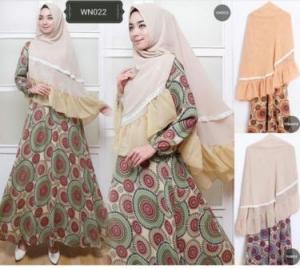 Baju Gamis Terbaru Cantik Kanisa Syar'i Bahan Wollycrepe