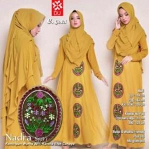 Baju Gamis Terbaru Dan Elegan Nadra Syar'i warna gold bahan baloteli