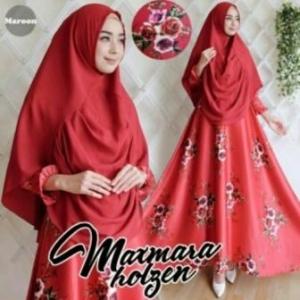 Baju Muslim Wanita Cantik Holgen Syar'i Warna Maroon Bahan maxmara