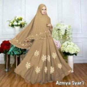 Baju Muslim Wanita Ukuran Kecil Azmya Syar'i Warna Mocca Bahan Diamond Crepe