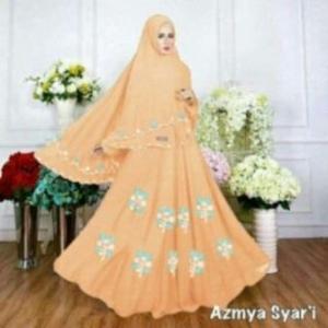 Baju Muslim Wanita Ukuran Kecil Azmya Syar'i Warna Peach Bahan Diamond Crepe