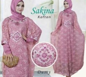 Baju Pesta Muslim Kaftan Sakina warna Dusty Bahan Brukat