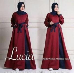 Busana Muslim Modern Terbaru Lucia Bahan Baloteli Warna Maroon