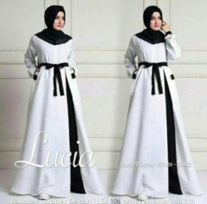 Busana Muslim Modern Terbaru Lucia Bahan Baloteli Warna White