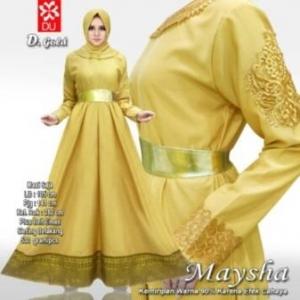 Busana Muslim Wanita Untuk Pesta Maysha Warna Gold Bahan Balotelifes