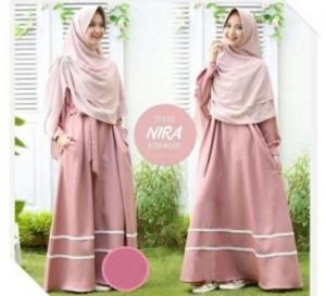 Gamis Modern 2017 Nira Syar'i Warna Dusty Pink Bahan Wollycrepe