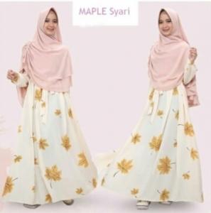 Gamis Muslimah Maple Warna White Bahan Wolly Crepe Terkini
