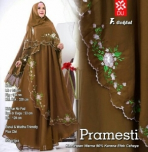 Gamis Muslimah Modern Pramesti Syar'i warna Coklat Bahan woolpeach