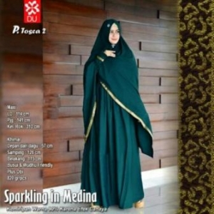 Gamis Syar'i Untuk Umroh Sparkling In Medina warna Tosca Bahan Woolpeach