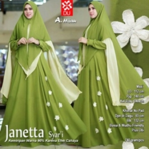 Gamis Terbaru Janetta Syar'i Online Warna Hijau Bahan Woolpeach