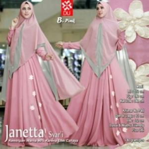 Gamis Terbaru Janetta Syar'i Online Warna Pink Bahan Woolpeach