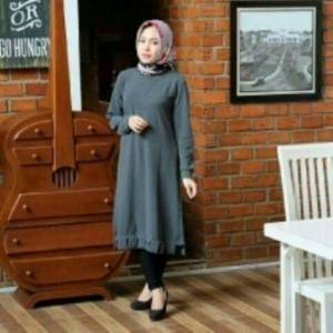 Baju Atasan Wanita Muslim Modis Savana Tunik Warna Abu Bahan Woolpeach
