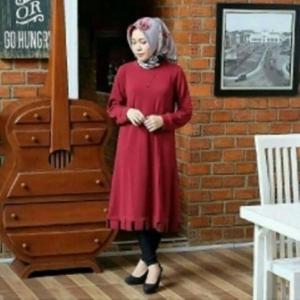 Baju Atasan Wanita Muslim Modis Savana Tunik Warna Maroon Bahan Woolpeach