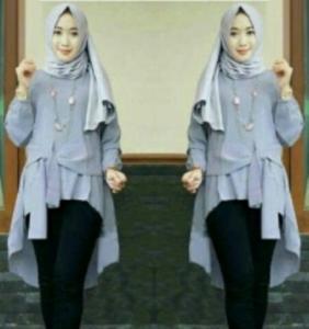 Baju Atasan Wanita Muslim Terbaru Tunik Cantika Warna Abu Bahan Baloteli