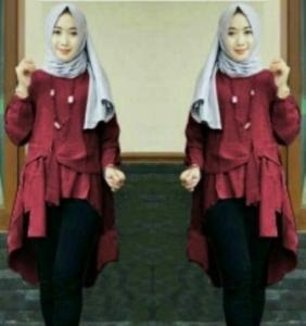 Baju Atasan Wanita Muslim Terbaru Tunik Cantika Warna Maroon Bahan Baloteli