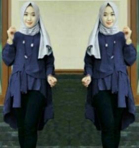 Baju Atasan Wanita Muslim Terbaru Tunik Cantika Warna Navy Bahan Baloteli