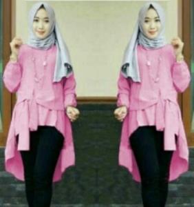 Baju Atasan Wanita Muslim Terbaru Tunik Cantika Warna Pink Bahan Baloteli