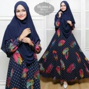 Baju Gamis Cantik Terbaru Bulu Syar'i Warna Navy Dengan Bahan Bubblepop