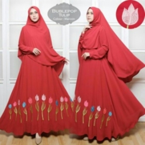 Baju Gamis Cantik Tulip Syar'i Warna Maroon Bahan Bubblepop
