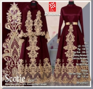 Baju Gamis Pesta Scotie Syar'i Warna Maroon Bahan Woolpeach