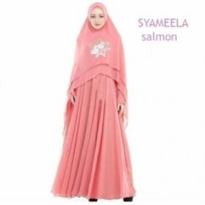 Baju Gamis Pesta Syameela Syar'i Warna Salmon Bahan Ceruty