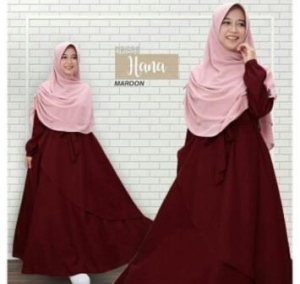 Baju Gamis Terbaru Dan Modis Hana Syar'i Warna Dark Maroon Bahan Baloteli