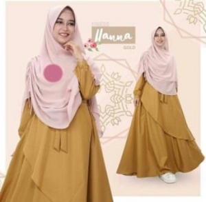 Baju Gamis Terbaru Dan Modis Hana Syar'i Warna Mustard Bahan Baloteli