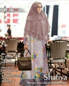 Baju Gamis Terbaru Keinian Shafiya Syar'i Warna Biru Pink Bahan Maxmara