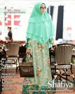 Baju Gamis Terbaru Keinian Shafiya Syar'i Warna Hijau Tosca Bahan Maxmara