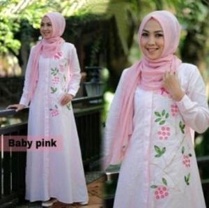 Baju Gamis Zahra Warna Baby pink Bahan Katun Yanded
